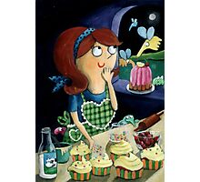 Little Girl's Kitchen and cute flying monsters Photographic Print