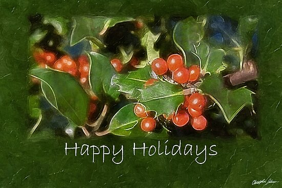 Holiday Holly - Happy Holidays by Christopher Johnson
