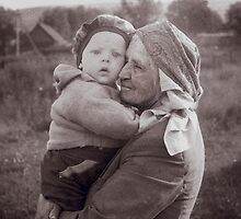 Grandmother and child by Yuri Lev