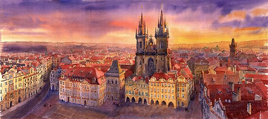 Prague Old Town Square by Yuriy Shevchuk