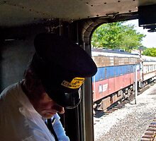 """Train Conductor Oversees Switching"" - Naugatuck Railroad - © 2009 by Jack McCabe"