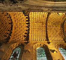 Ceiling of Rosslyn Chapel, Roslin, Scotland by Bev Pascoe