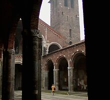 Courtyard, Basilica of St. Ambrose, Milan by Robert Arconti