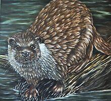 """European Otter"" - Oil Painting by Avril Brand"