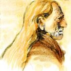 Willie Nelson Watercolor Profile Portrait  by James Cattlett by CattlettArt