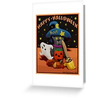 Halloween Scared Cat Art  Poster  Greeting Card