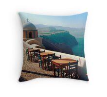 A View from Firostefani, Greece Throw Pillow