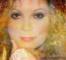 Brown Eyes and Lace Textured Self Portrait by Julie Everhart