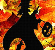 Halloween Witch and Fall Leaves Card by Terri Chandler