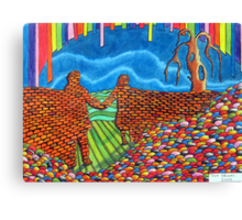 274 - IF ONLY THESE BRICKS COULD TALK III (THE WALL OF FRIENDSHIP) - DAVE EDWARDS - COLOURED PENCILS & FINELINERS  - 2009 Canvas Print