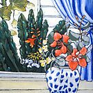 still life,window & grape vine by maria paterson