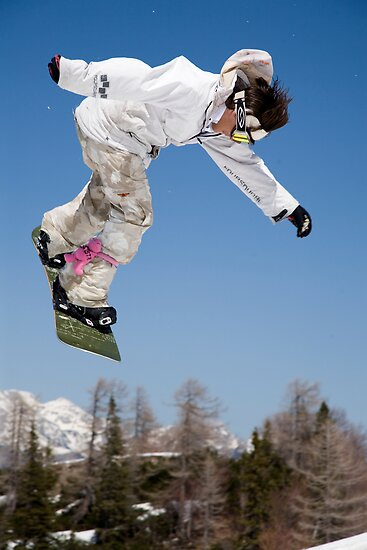 Snowboard jumping on Vogel mountain, Slovenia by Ian Middleton