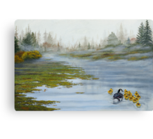 Misty Morning Swim Canvas Print