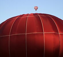 two hot air balloons big small by Jamie Roach