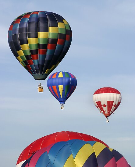 five hot air balloons by Jamie Roach