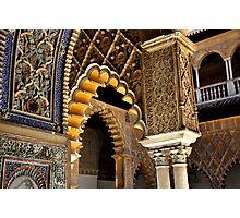 SEVILLA - The ALCAZAR - Interior arches and arabian laces Photographic Print