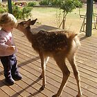 Secrets! A child & a Fawn. by Rita Blom