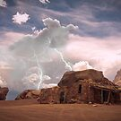 Southwest Desert Landscape Indian House and Lightning by Bo Insogna