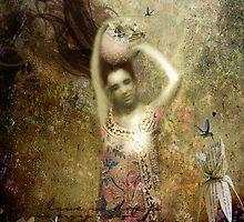 Mujer con vasija, flores letradas y colibríes by dmcart