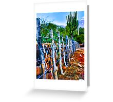 Barbed-Wire Fence Landscape Greeting Card
