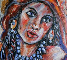 Blue Eyed Gypsy Woman by Anthea  Slade