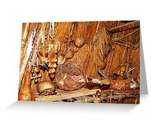 Native American Longhouse Interior Greeting Card