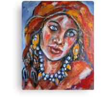 Blue Eyed Gypsy Woman Canvas Print