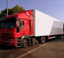 Red IVECO Truck  by Sunil Bhardwaj
