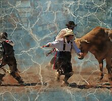 Scatter! Montana Rodeo, Bull Fighting at it's best! by Donna Ridgway