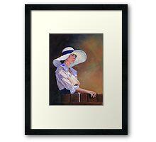 Girl in white Hat Framed Print