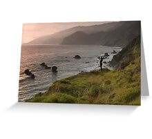 Kirk Creek Yoga at Sunset, California Coast Greeting Card