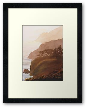 """Sunset Big Sur"" Watercolor by Paul Jackson"