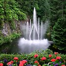 Flowers and the Fountain by George Cousins