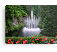 Flowers and the Fountain Metal Print