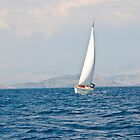 Sailing between Corfu and Albania by Sheila Laurens