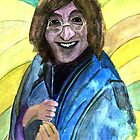 144 - JOHN LENNON IN THE SIXTIES - DAVE EDWARDS - WATERCOLOUR - 2005 by BLYTHART