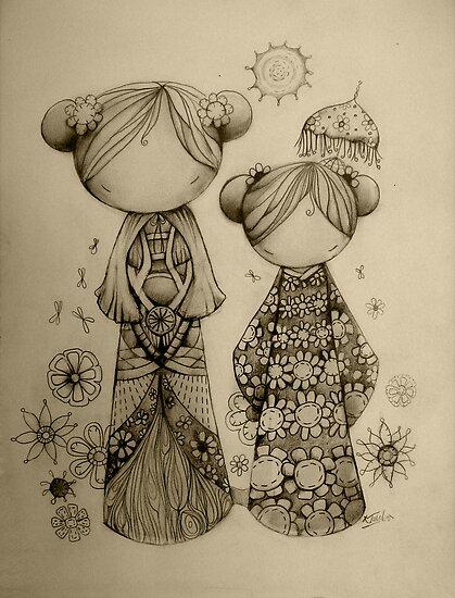 Zen Garden drawing by © Karin  Taylor