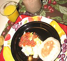Eggs and Salsa  with English Muffin by JeffeeArt4u