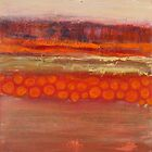 Pumpkin fields, mixed media on canvas by Sandrine Pelissier
