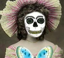 DAY OF THE DEAD LADY WITH FRILLY HAT by Frances Perea