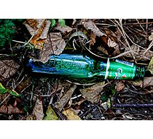 Bottle of beer with in the leaves. ( man made and Nature series) Photographic Print