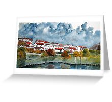 Italian landscape watercolour cityscape painting Greeting Card