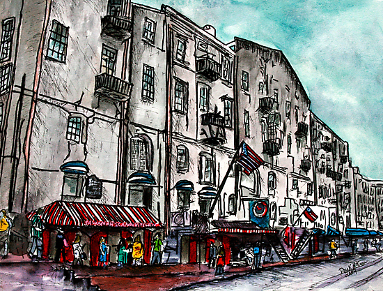Savannah Georgia USA watercolour  and ink cityscape drawing by derekmccrea
