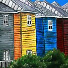 beach houses acrylic painting modern art by derekmccrea