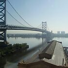 Mid-day Ben Franklin Bridge, Philly by CarolLeesArt