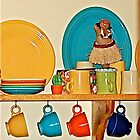 Colorful Table Ware with Hula Girl by H A Waring Johnson