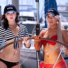 Courtney and Cheryl at the Helm on Kioni by Tim Miller