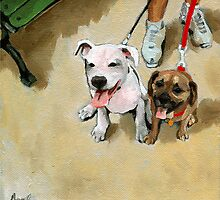 Murial and Murphy - dog portrait painting by LindaAppleArt