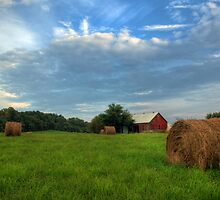 Red Barn and Hay Bales by Michael Mill
