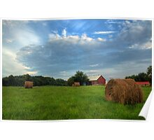 Red Barn and Hay Bales Poster